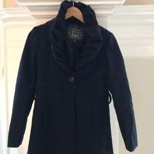 Navy blue coat with unique draped shawl collar